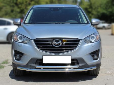 Mazda СX-5 2015-наст.вр.-Защита переднего бампера d-53+43 c подгибами